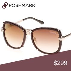 New Authentic Roberto Cavalli Sunglasses Leather Brown W/Shiny Rose Gold Gradient Brown Lenses Style Mirfak 915s-A Color 28G Roberto Cavalli Accessories Sunglasses