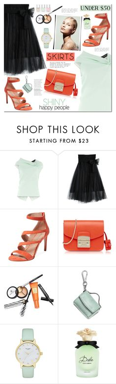 """""""Skirts Under $50"""" by mada-malureanu ❤ liked on Polyvore featuring Roland Mouret, Jean-Michel Cazabat, Furla, Borghese, MICHAEL Michael Kors, Kate Spade, Dolce&Gabbana, Nails Inc., under50 and koogal"""