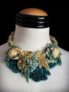 """Adria""  Fabric Flowers Art Necklace @carlafoxdesign"