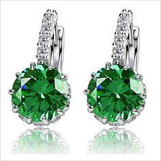 Silver CZ Zircon Drop Earring. Gold Plated EarringsCrystal EarringsCrystal  RhinestoneWomen s ... efbd55411382