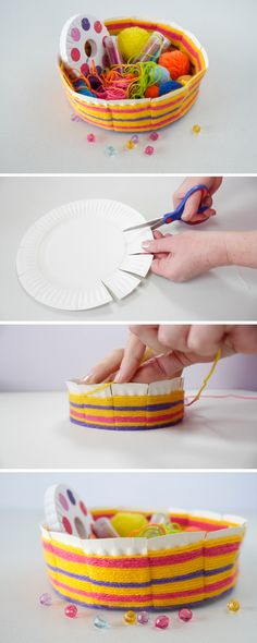 Today, we have a fantastic craft for you! We are going to make this easy woven bowl made out of a paper plate. Today, we have a fantastic craft for you! We are going to make this easy woven bowl made out of a paper plate. Kids Crafts, Craft Activities For Kids, Yarn Crafts, Projects For Kids, Diy For Kids, Arts And Crafts, Paper Plate Crafts For Kids, Diy Projects, Summer Crafts