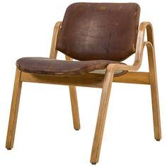 Ilmari Tapiovaara Molded Plywood and Leather 'Wilhelmina' Chair, Finland, 1959