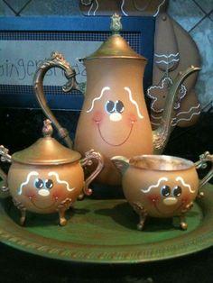 Hp Handpainted Silver Gingerbread Tea Set