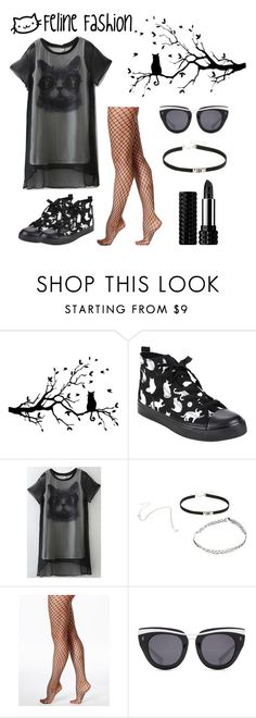 """Dark Hipster Cat"" by xxjeniixx ❤ liked on Polyvore featuring WALL, Hue, HOOK LDN and Kat Von D"