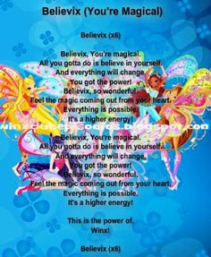Winx Club theme song to Believix Rainbow Eye Makeup, Fantasy Tv Shows, Les Winx, Bloom Winx Club, Girls Are Awesome, Club Parties, Kids Shows, Theme Song, Disney Love