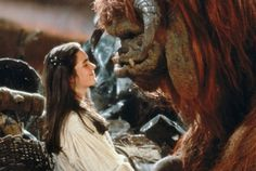 Sarah (Jennifer Connelly) & Ludo from Labyrinth. I am naming my next dog Ludo. I Ludo! Labyrinth 1986, Labyrinth Movie, Ludo Labyrinth, Sarah Labyrinth, Jim Henson Labyrinth, Goblin King, Nick Brandt, Movies And Series, Movies And Tv Shows