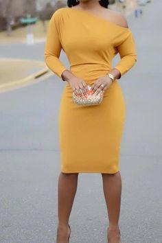 Solid Skew Neck Bodycon Dress – streetstylepop In China, Trend Fashion, Long Sleeve Midi Dress, Black Bodycon Dress, Office Ladies, Mellow Yellow, Yellow Dress, Elegant Dresses, Pattern Fashion