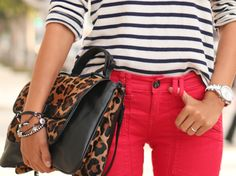 Red pants, stripes, and leopard print. All of my loves.