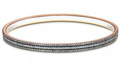 Triple Tone Diamond Bangle (2.08 ct), 18K Rose, White & Yellow Gold (21.14 gms total weight)