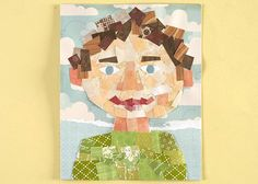 Self-Portrait Collage with paper scraps . - Self-Portrait Collage with paper scraps – great idea to clean out bits and pieces of patterned pa - Collage Kunst, Art Du Collage, Collage Ideas, Collage Portrait, Kids Collage, Portraits, Self Portrait Kids, Portrait Ideas, Art For Kids