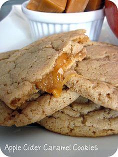 Carmel apple cider cookies from sixsistersstuff blog.....they were yummy. I didn't have Carmel cubes so I used the little individual Carmel chip like things. Put 6 in one cookie. Could've used more
