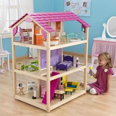 KidCraft So Chic Dollhouse - 2.5 hour project with two adults, but the girls LOVE the new doll house!