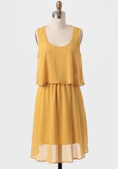 Belle Nuit Tiered Dress In Mustard at #Ruche @Ruche
