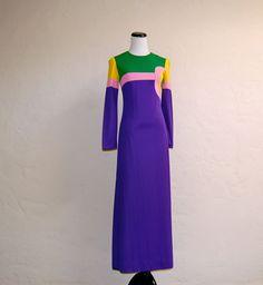 Groovy Vintage Late 60s Colorblock Mod Maxi Dress by LolaAndBlack, $32.50