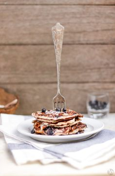 Banana Coconut Pancakes with Blueberries and Cottage Cheese