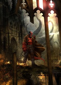 Hellboy image by Benjamin Carré Comic Book Characters, Comic Books Art, Comic Art, Mike Mignola, Marvel Comics, Hellboy Comics, Hellboy 1, Starwars, Cyberpunk