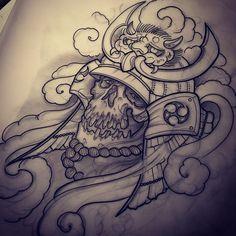 Temporary tattoos samurai skull tattoo, skull tattoo neotradicional, skull tattoos for women Skull Tattoo Design, Skull Design, Skull Tattoos, Body Art Tattoos, Hand Tattoos, Sleeve Tattoos, Biomech Tattoo, Hannya Tattoo, 1 Tattoo