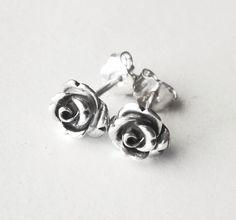 Rose stud earrings, rose earrings, oxidized sterling silver earrings.