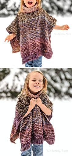 This cute poncho is very lightweight and easy to make. It's perfect for winter activities, because it warm and breathable, but doesn't restrict your movements. Sie Kleidung Muster Kinder Warm And Light Poncho Free Crochet Pattern Crochet Girls, Crochet For Kids, Crochet Shawl, Knit Crochet, Free Crochet Poncho Patterns, Kids Poncho Pattern, Crochet Baby Poncho, Crotchet, Free Pattern