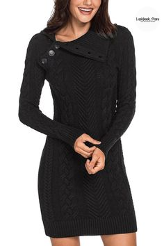 Winter Style // Stay warm and look fabulous this fall by choosing to wear this black cable knit split cowl neck sweater dress.