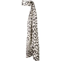 Haider Ackermann Leopard Printed Mixed Silk Scarf ($385) ❤ liked on Polyvore featuring accessories, scarves, silk shawl, silk scarves, pure silk scarves, white shawl y leopard shawl