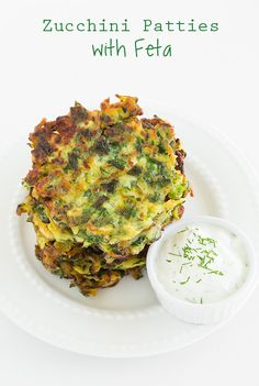 Zucchini Patties with Feta ~ Quick and easy dinner recipe that is healthy