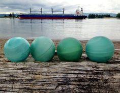 Japanese Glass Fishing Floats - Set of 4, Baseball Size, Alaska Beachcombed, Ocean Inspired Colors