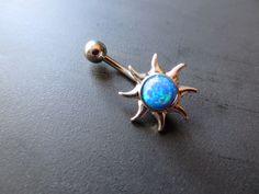 Blue Opal Sun Belly Button Ring Navel Piercing Bar Barbell Bellyring