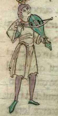 Vièle romane d'après le manuscrit Arundel, début du XIIème siècle.