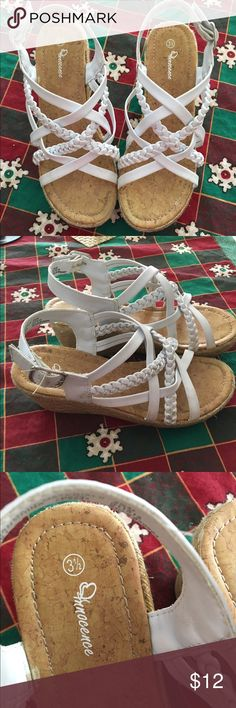 White Sandals Big Girls Size 3.5 Cute white wedge sandals criss cross pattern so cute with small heel Innocence Shoes Sandals & Flip Flops