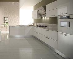 kitchen, Modern Kitchen Design Ideas With White Kitchen Furniture Ideas And Kitchen Cabinet Design Ideas With Kitchen Units Design And Kitchen Island Design With Stainless Faucet With Kitchen Wall Design: Stunning Modern Kitchen Cabinet Furniture for Contemporary Kitchen