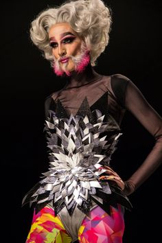 Mathu Andersen takes to the Marco Marco catwalk in LA sporting a pink dip-dyed goatee beard. The catwalk show was entitled Drag Race Queens. (Vogue.com UK)