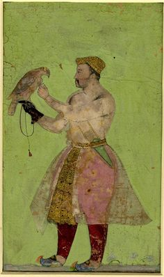 """""""Jahangir with a hawk with inscriptions"""", Mughal Style, India, source: British Museum Empire Moghol, Cultura General, Mughal Empire, Indian Paintings, Islamic Paintings, Art For Art Sake, Orient, British Museum, Bird Art"""