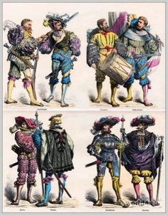 German Iansquenets clothing 30 years war. First quarter of the XVI century. Top row left: Iansquenets. Right: drummers and flag bearers. Bottom row left: Piper, Waibel. Right: Captain and Lieutenant.