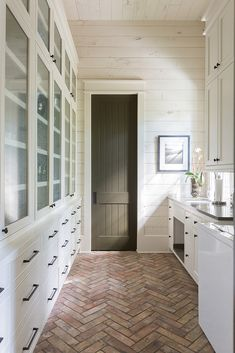 Brick Pavers in the Mudroom + Herringbone brick floors + Dark Olive Green Painte. - Brick Pavers in the Mudroom + Herringbone brick floors + Dark Olive Green Painted Door + Bleached Wood Shiplap Walls Brick Tile Floor, Brick Floor Kitchen, Brick Pavers, Brick Flooring, Best Kitchen Flooring, Home Flooring, Bathroom Flooring, Hardwood Floors, Style At Home