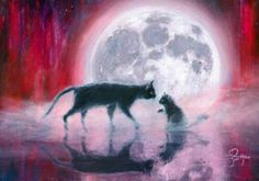 Cat painting - Full moon