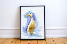 Goose print art bird watercolor painting print art white bird