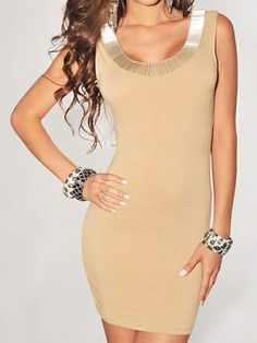 Women's Fashion Pure Color Shining Silk Decorated Round Collar Cut Out Back Sleeveless Slim Dress on buytrends.com