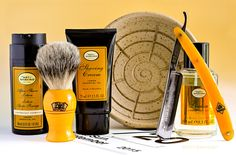 """The Art of Shaving lemon shave cream, aftershave lotion and cologne, Yoresh shave scuttle, Rooney badger brush, Puma 5/8"""" #88 straight razor, September 20, 2015.  ©Sarimento1"""