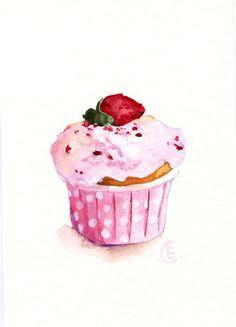 Cupcake 34  Original Watercolor Painting 8x6 por FleurDeParis