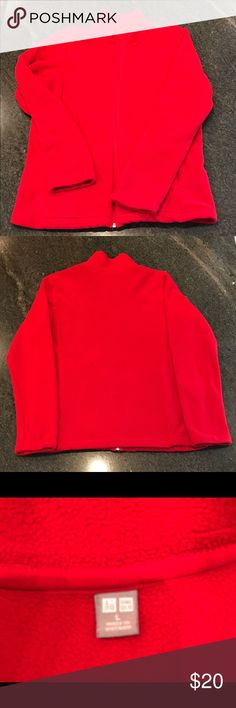 UNIQLO FLEECE JACKET RED UNIQLO FLEECE JACKET RED.  Very comfy and warm.  Size Large.  Great condition!  Smoke free environment. Uniqlo Jackets & Coats