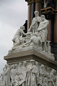 """Manufactures"" group by Henry Weekes. It was commissioned by Queen Victoria in memory of her beloved husband, Prince Albert who died of typhoid in 1861. The memorial was designed by Sir George Gilbert Scott in the Gothic Revival style"