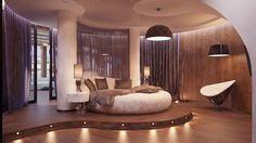 lit rond design, faux plafond moderne, rideaux violets et sol en parquet massif