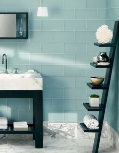 This aqua-toned Serenity would look great in an en-suite bathroom. Set into a calm blue area from your bedroom, perfect if you wanted to you Rose Quartz in the bed-room area. Home, New Toilet, Small Bathroom, Bathroom, Glass Tile, Herringbone Marble Floor, Bathroom Decor, Black Bathroom, Grey Bathrooms