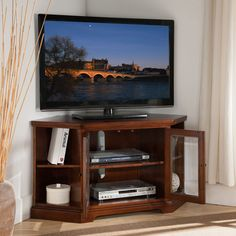 West Cherry 46-inch Corner TV Stand with Bookcases