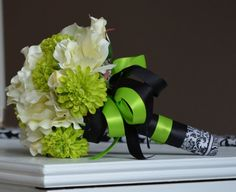 CUSTOM order for prowlerldy - Posh 2 Set Black, White Anemone & Lime Green Pom Mums Wedding BOUQUET via Etsy
