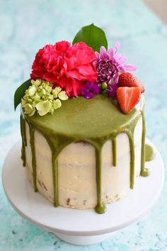 Matcha Cake with Buttercream Frosting and White Chocolate Matcha Drip -