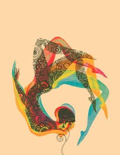 like the movement in this art...  Lovely use of pattern within the shape of the figure