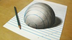 Trick Art on Line Paper  _ Drawing Half Sphere Optical Illusion - Anamor...