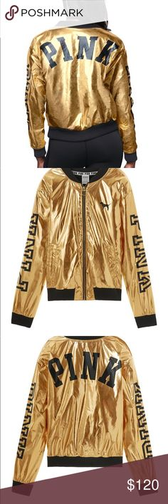 Victorias Secret PINK Metallic Bomber Jacket -S Limited Edition Brand New Holiday 2017  Get street sport style in the season's must-have item: the Metallic Bomber. This cool and cozy jacket is lined with soft fuzzy sherpa and features bold graphics.  Pockets Printed graphics Imported cotton/polyester PINK Victoria's Secret Jackets & Coats